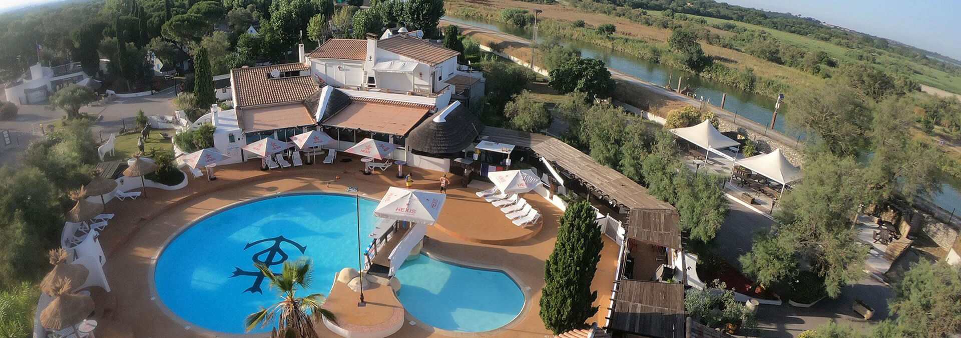 Aerial view of the Camarguais campsite near Montpellier